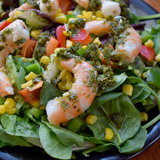 Green Salad With Shrimp and Basil-Mint Dressing
