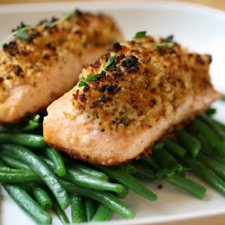 Easy Crunchy Mustard-Baked Salmon.