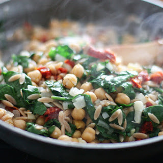 Whole Wheat Orzo with Spinach, Chickpea and Lemon.