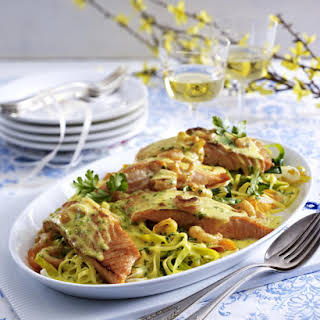 Baked Salmon with Vegetable Tagliatelle.