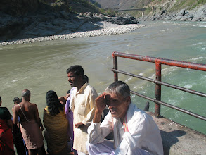 Photo: Bhagirathi (ash colour water) Alakananda (green water) sangamam