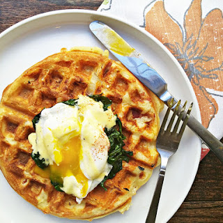 Eggs Florentine With Bacon And Cheese Waffles.