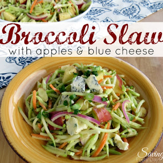 Broccoli Slaw with Apples & Blue Cheese.