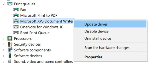 Update Driver option for the Printer