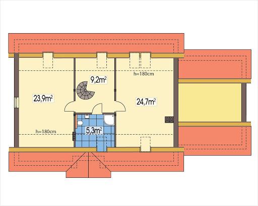 Azalia II wersja D z podwójnym garażem - Rzut poddasza