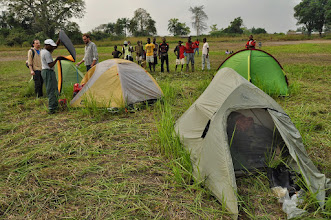 Photo: camping on a football playground