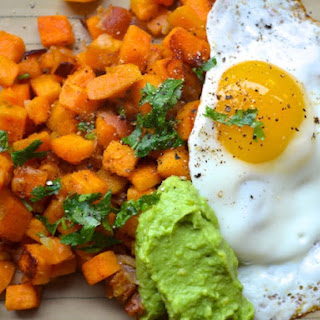 Bacon and Sweet Potato Hash with Avocado Cream.