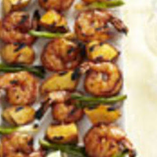 Barbecued Shrimp N Peach Kabob.