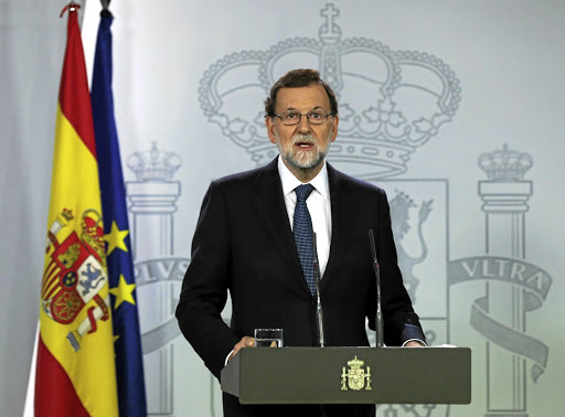 Spanish Prime Minister Mariano Rajoy delivers a statement at the Moncloa Palace in Madrid on October 11 2017. Picture: REUTERS