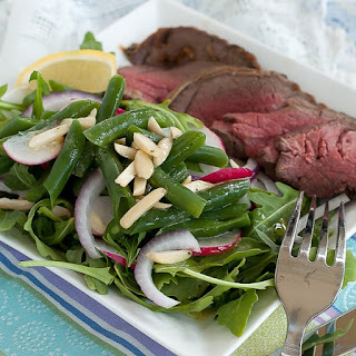 Mustard Glazed Beef Tenderloin with Green Bean Salad