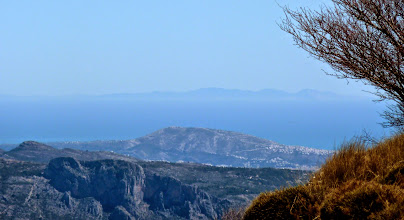 Photo: Formentera and Ibiza at a distance (140kms)