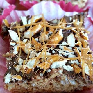 Chocolate & Caramel Pretzel Rice Krispies Treats.