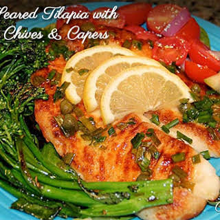 Pan-Seared Tilapia with Lemon Chives & Capers.