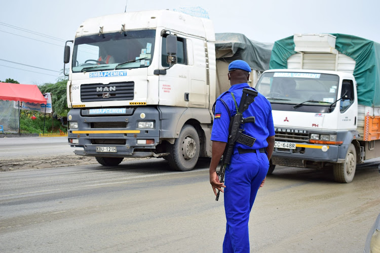 Trucks from the Mombasa Port go through inpsection at Bonje.