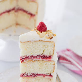 Lemon Raspberry Cake with Honey Mascarpone Filling and Cream Cheese Frosting.