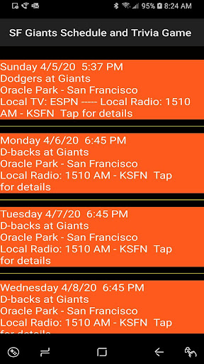 Schedule and Trivia Game for SF Giants fans apktram screenshots 2