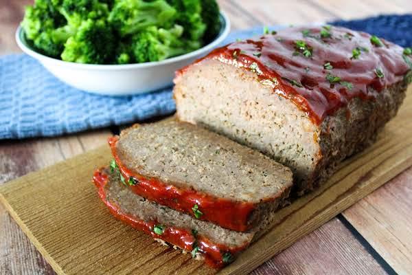Super Moist Meatloaf Cut Into Slices.