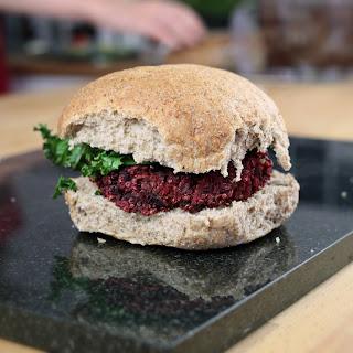Beetroot and Quinoa Vegan Burgers With Thyme Tahini Sauce.
