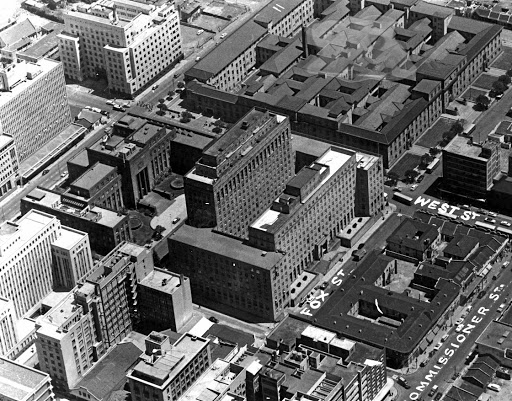 February 5 1947: Aerial view of central Joburg, including the Anglo American building