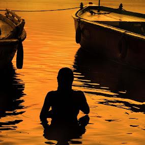 Gold dip! by Arup Acharjee - Landscapes Travel ( water, bathe, bathing, sunrise, boat, people, golden hour )
