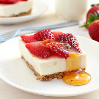 Clean Eating Strawberry Cheesecake Bars.