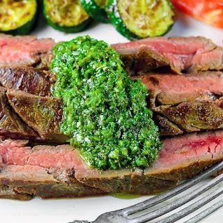 Grilled Flank Steak with Fresh Chimichurri Sauce (Gluten-Free).