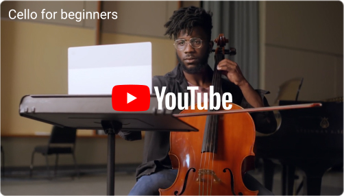 The YouTube logo appears. A young man plays the cello by himself in front of an open laptop.