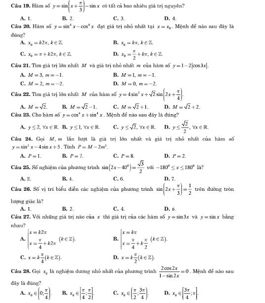 đề kiểm tra chương 1 lớp 11