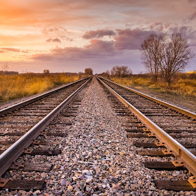 Walking The Rails in The Heartland. by Tomas Rupp - Transportation Railway Tracks ( clouds, railroad tracks, nature, sunset, landscape,  )