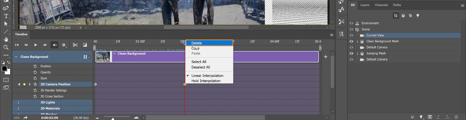 To delete a keyframe, just right-click on a keyframe and select Delete