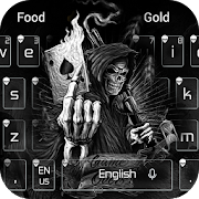 Dark Flame Devil skull gun Theme Keyboard