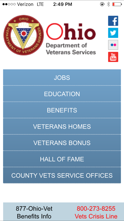 Ohio Dept of Veterans Services- screenshot