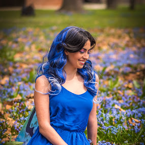 Into Blue by Lynn Kirchhoff - People Portraits of Women ( dye, blue, magical, woman, fairy, forest, flowers, smile, spring,  )