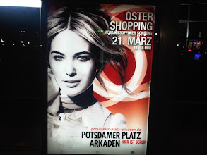 "Photo: Outside of airports and train stations, it is illegal for stores to open on Sunday. Very illegal. It is sort of a national controversy. That's why the seasonal Sunday opening for Easter shopping is sort of a big deal and why they have dead sexy ads such as this one celebrating the ""21. März, 13-18 Uhr"" event."