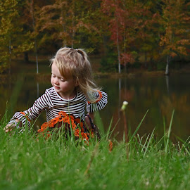 Picking Flowers by Daryl Peck - Babies & Children Children Candids ( canon, novice, grass, meddow, children, little, lake, leaves, child, field, pose, girl, color, autumn, fall, october )