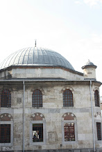 """Photo: Selimiye Mosque. I came here whenever I needed a nap. It was so peaceful.  From Trip Advisor: """"Selimiye Mosque , located next to Mavlana Mausoleum, commissioned by son of Suleyman, II.Selim, then the Governor of Konya Region is a rare example for classical period Ottoman architecture for the region. The construction of the mosque started in 1558 and finished in 1576 after Selim became Sultan. The architect of the mosque is believed to be the infamous Mimar Sinan the head architect of the great period of Ottoman architecture . The mosque has three entrances one of which is the ornate marble maingate and a large dome surrounded by semi-domes and the interior is sumptuously decorated. The ornate altar is made of blue marble, the white minber (pulpit) is a fine example of marble craftsmanship has a spire resembling the Green Dome of the Mevlana Museum next door. The mosque has two minarets an indication of Ottoman Dynasty structure."""""""