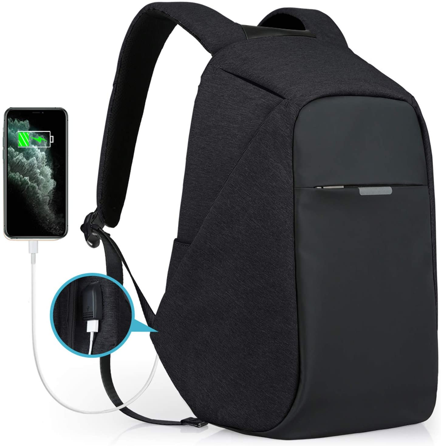 Black backpack with phone charger at the side