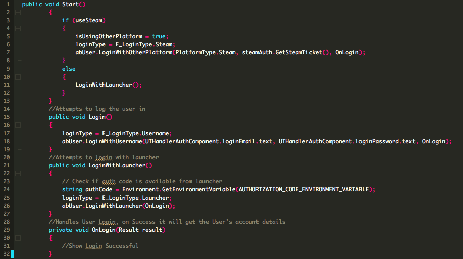 user authentication logic in the game code
