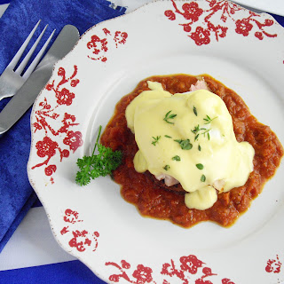 "Double ""Egg"" Benedict with Tomato Pesto"