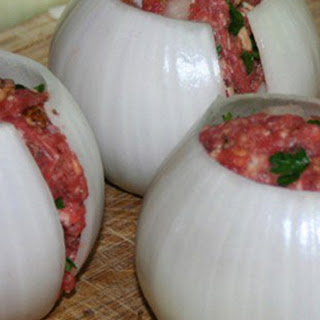 He Starts By Putting Mince Meat Into Onions. The End Result? Delicious