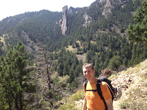 Photo: Mark Oveson with the Matron behind him - site of the last two Classics: East Ridge and North Face.
