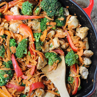30-Minute Spicy Thai Peanut Chicken & Sweet Potato Noodle Stir Fry Recipe