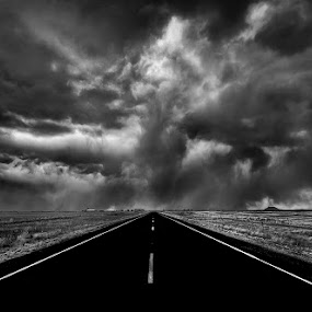 Yol Bolsun by Mike Ritchie - Landscapes Deserts ( clouds, sky, desert, dark, white, bw, road, storm, black )