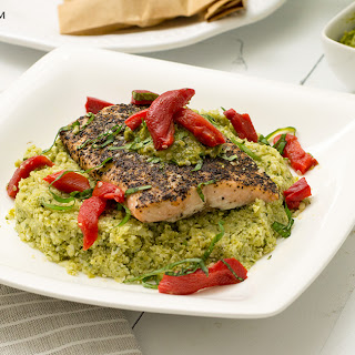 Sweet Pea Basil Pesto Cauliflower Rice with Garlicky Black Pepper Salmon