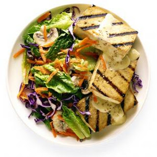 Greens with Miso-Ginger Dressing and Grilled Tofu Recipe