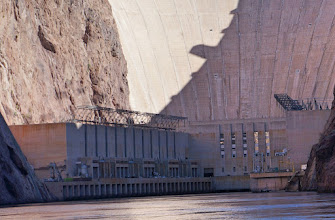 Photo: The west (Nevada) power plant at the base of the dam. (We will tour it that afternoon.)