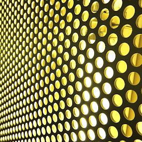 In circles by Ana Paula Filipe - Abstract Patterns ( many, abstract, pattern, yellow, circle, wall,  )