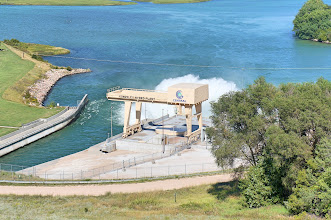 Photo: The discharge into Lake Ogallala is sprayed upward to add oxygen. This is necessary because the discharge water comes from the deep part of Lake McConaughy which has little disolved oxygen.