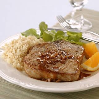 Braised Pork Chops with Orange-Mustard Sauce.