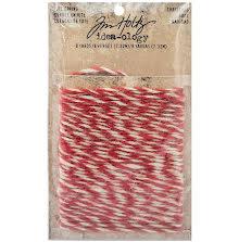 Tim Holtz Idea-Ology Jute String 8yd - Christmas Red & Cream UTGÅENDE